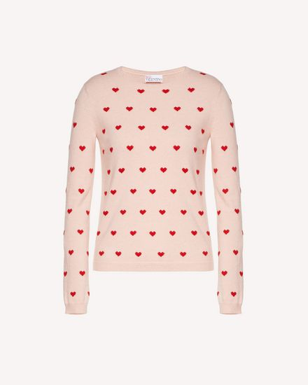 Wool jumper with heart jacquard