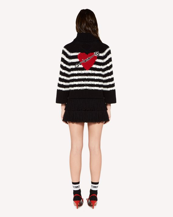 REDValentino Heart intarsia cotton sweater