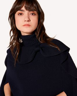 REDValentino Wool cape with bow detail