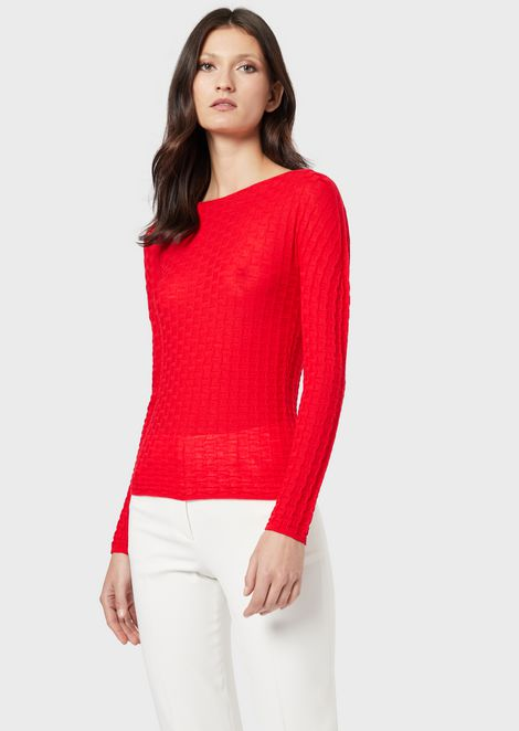 Virgin wool, tuck-stitch jumper