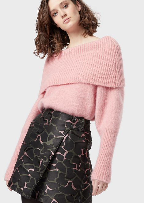 Maxi-sweater in mohair blend with foldable collar