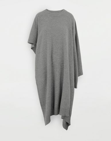 MAISON MARGIELA Asymmetric wool dress Crewneck Woman f