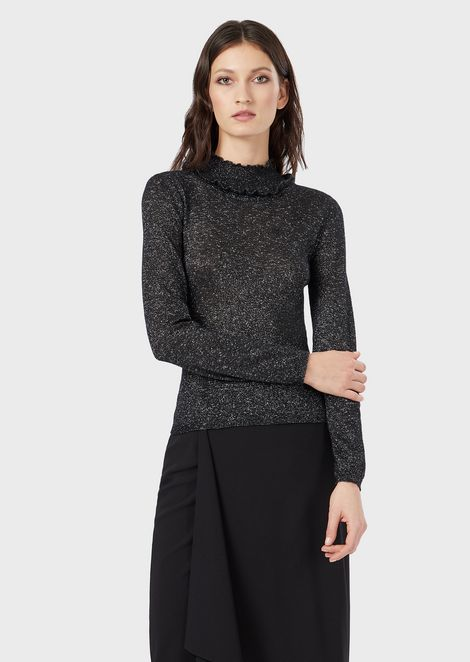 Bouclé, ruched roll-neck jumper