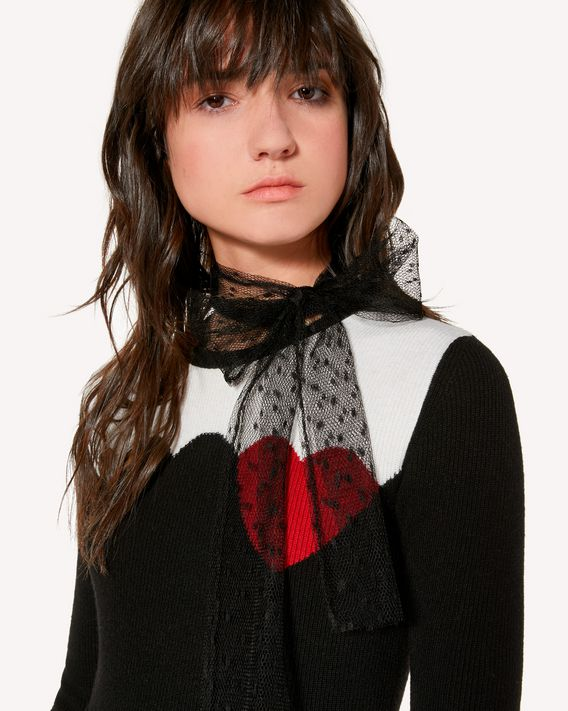 REDValentino Hearts and scallop intarsia wool blend sweater
