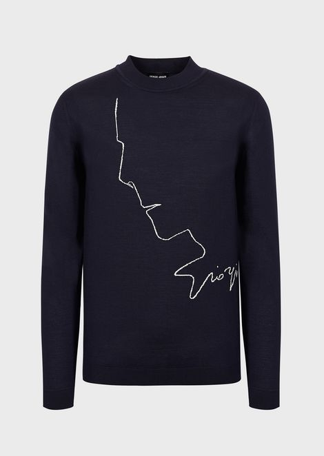 Virgin wool sweater with an intarsia of Mr Armani's profile