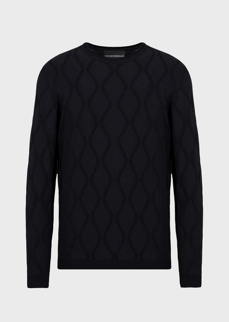 Jacquard fabric sweater with vertical wave motif
