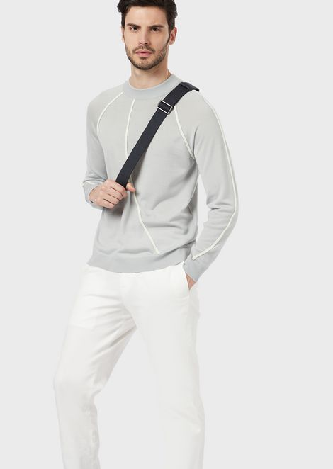 Sweater in jacquard fabric with alternating ribbed design with knit effect