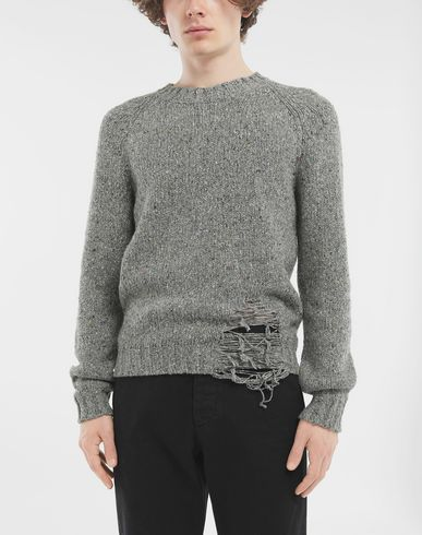 SWEATERS Destroyed hem sweater Grey