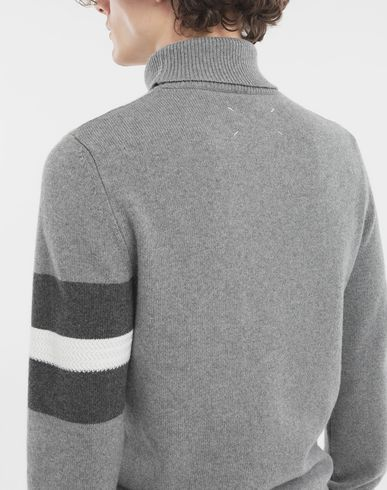 KNITWEAR High-neck stripe sweater  Grey