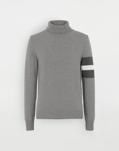 SWEATERS High-neck stripe sweater  Grey