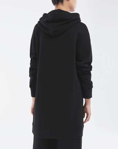 KNITWEAR Long-line hooded sweatshirt Black