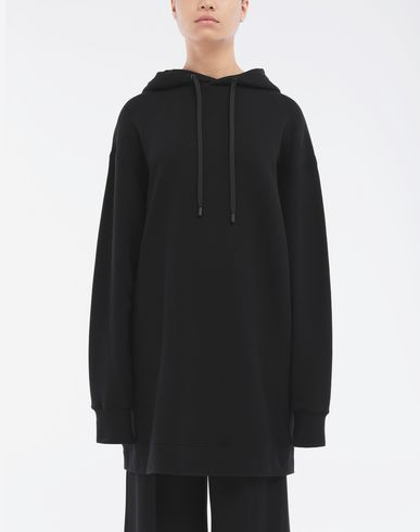 SWEATERS Long-line hooded sweatshirt Black