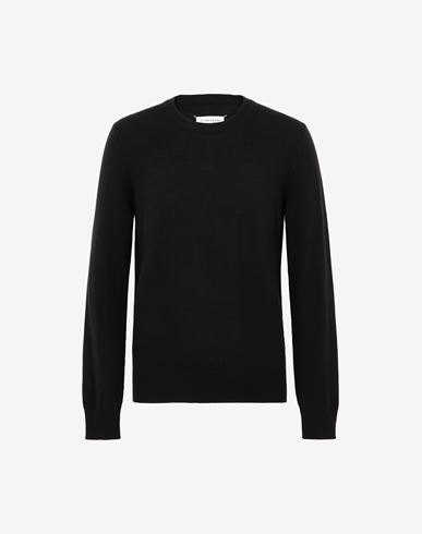 KNITWEAR Leather elbow patch sweater Black