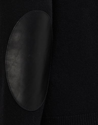 SWEATERS Leather elbow patch cardigan Black