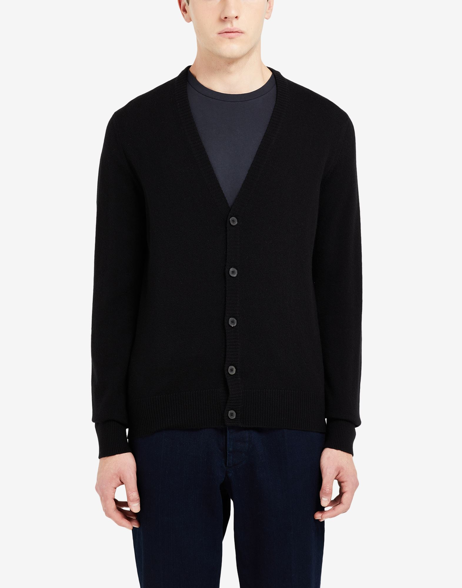 MAISON MARGIELA Leather elbow patch cardigan Cardigan Man a