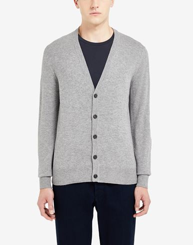 SWEATERS Leather elbow patch cardigan Grey