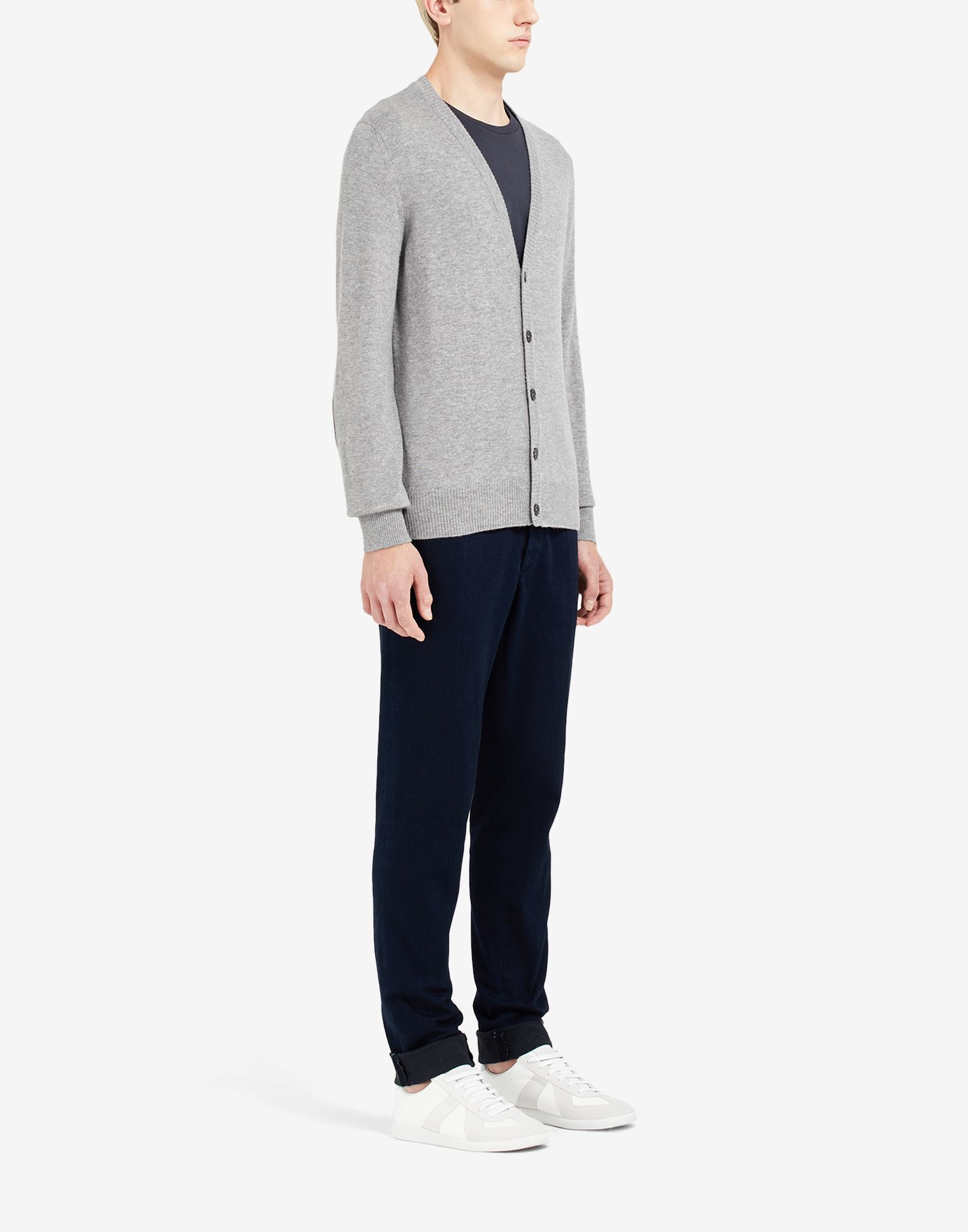 MAISON MARGIELA Leather elbow patch cardigan Cardigan Man d