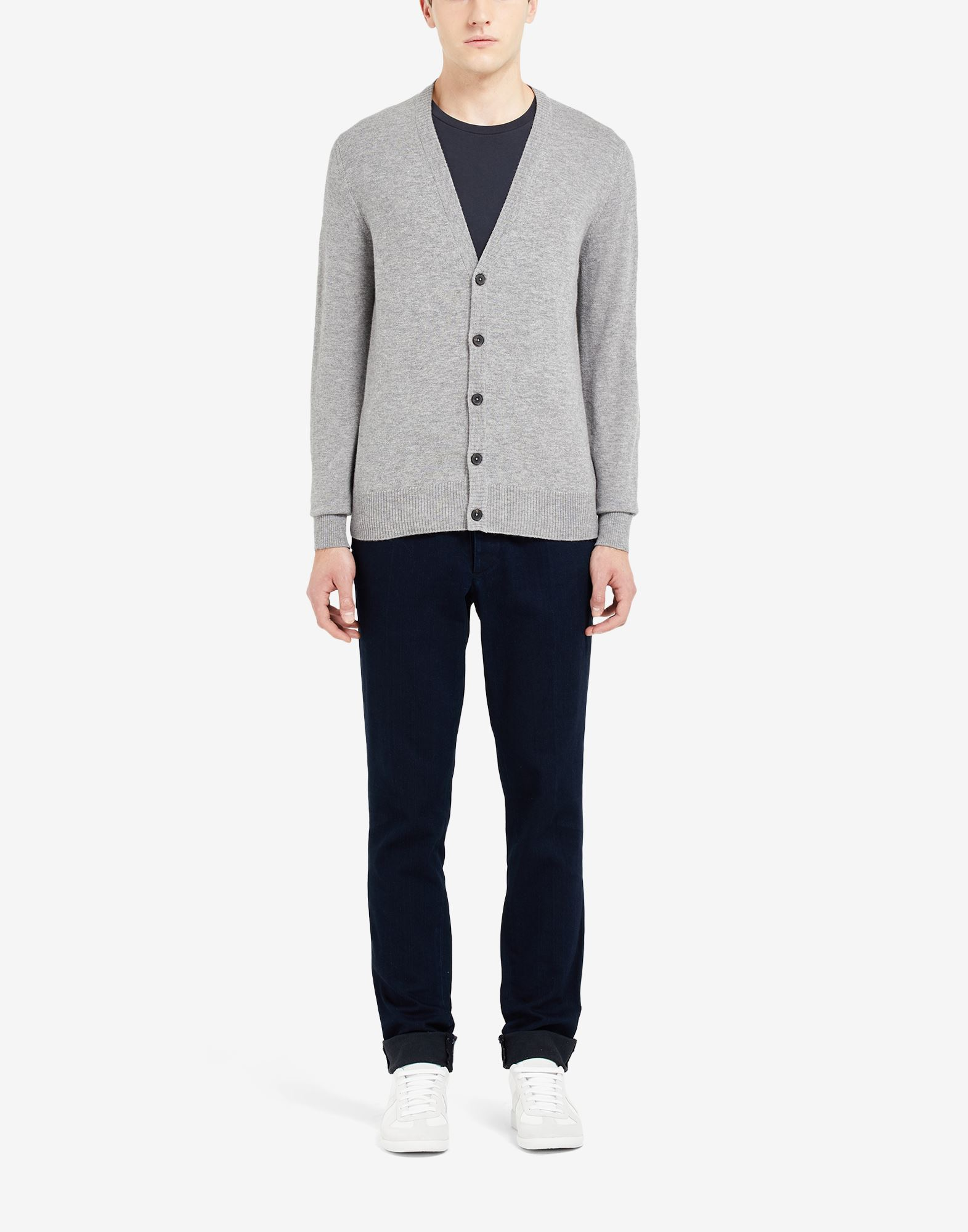 MAISON MARGIELA Leather elbow patch cardigan Cardigan Man r
