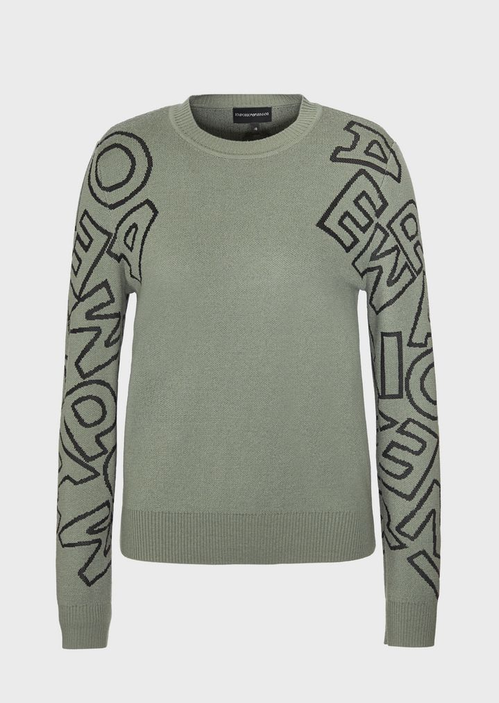 cfb5a7ce13 Sweater with jacquard-stitch logo on the sleeves