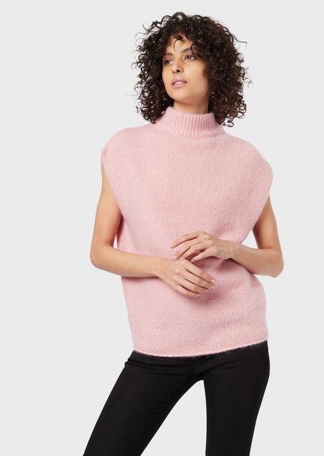 Short-sleeved mohair-blend sweater