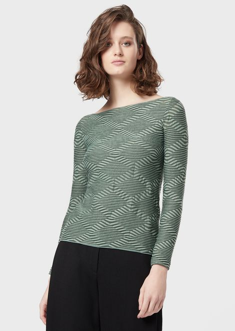 Two-tone jersey sweater with wave motif