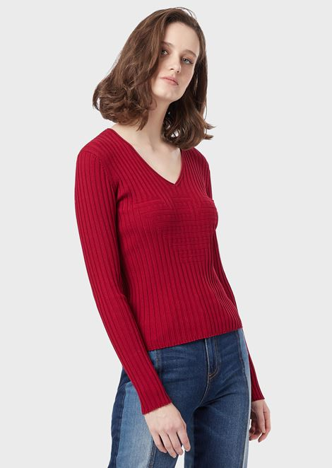 Ribbed V-neck sweater with stockinette-stitch maxi logo