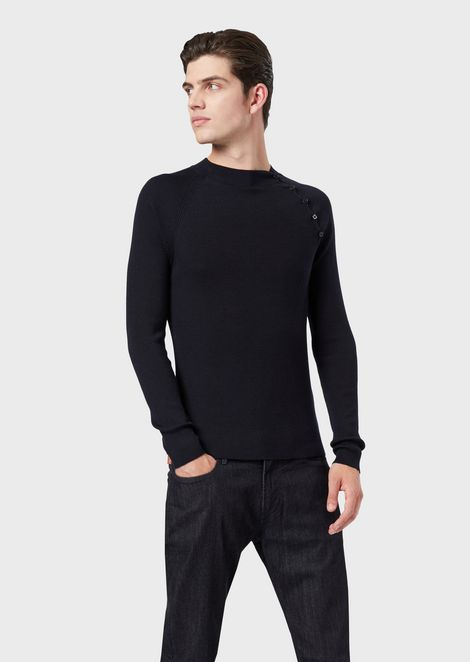 Pure virgin wool ribbed sweater