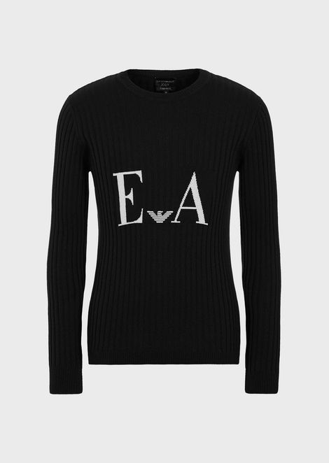 Pure cashmere sweater with jacquard logo