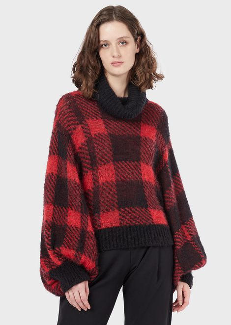 Tartan mohair sweater with puff sleeves