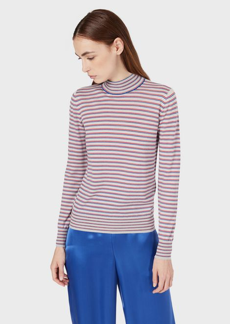 Virgin wool, irregularly striped roll-neck
