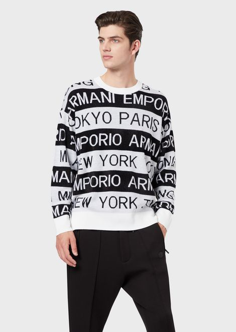 Sweater with jacquard logo and cities