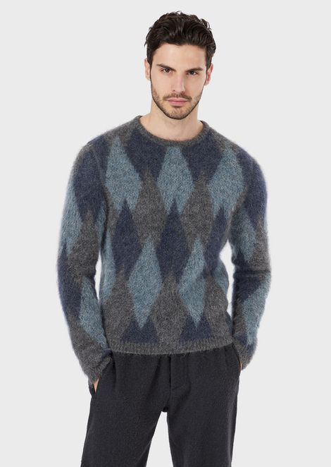 Diamond-pattern jacquard sweater