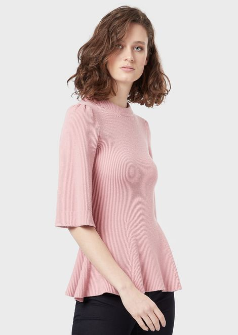 English rib-stitch sweater with short sleeves