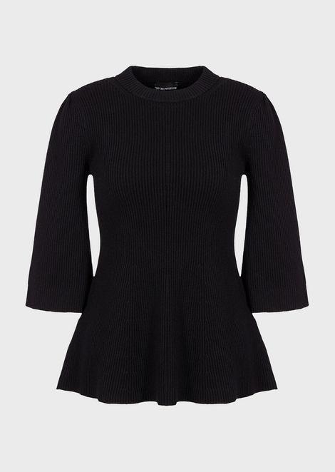English rib-stitch sweater with short sleeves