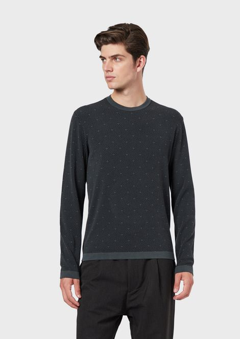 Sweater with optical-effect jacquard pattern