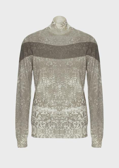 Roll-neck sweater in screen-printed virgin wool