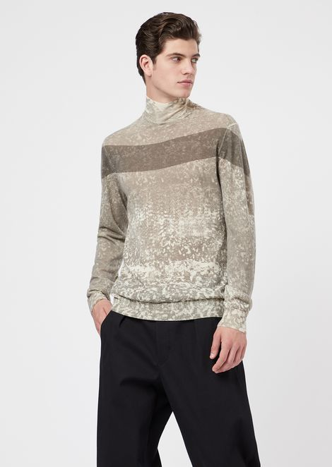 Roll-neck sweater in screen-printed virgin wool