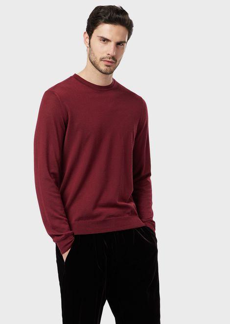 Jersey de cuello redondo de cachemir puro