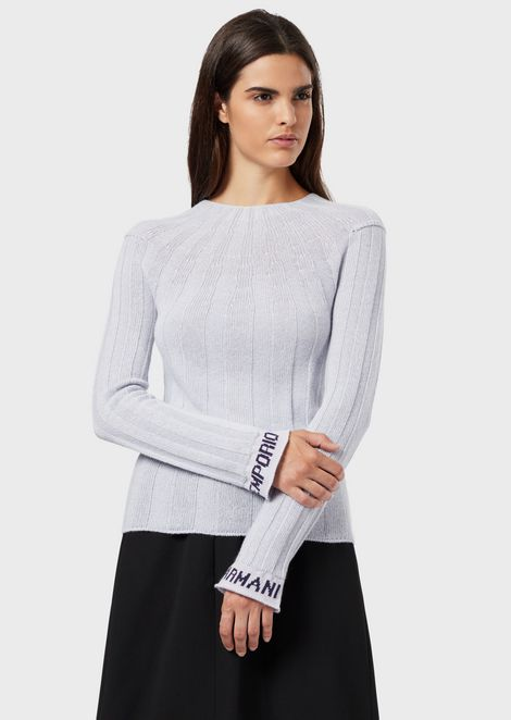 Ribbed, wool-blend sweater with logos on the cuffs