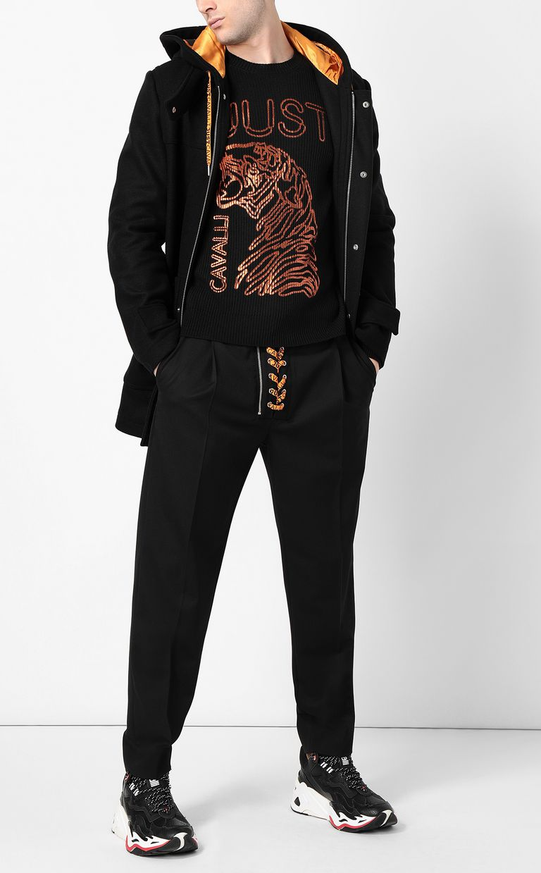 JUST CAVALLI Pullover with animal print Crewneck sweater Man d