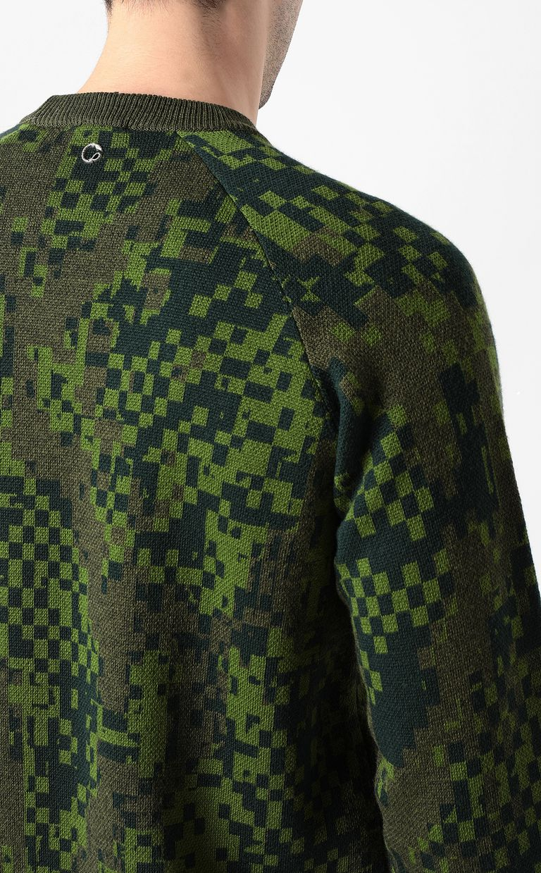 JUST CAVALLI Pixel python pullover Crewneck sweater Man e