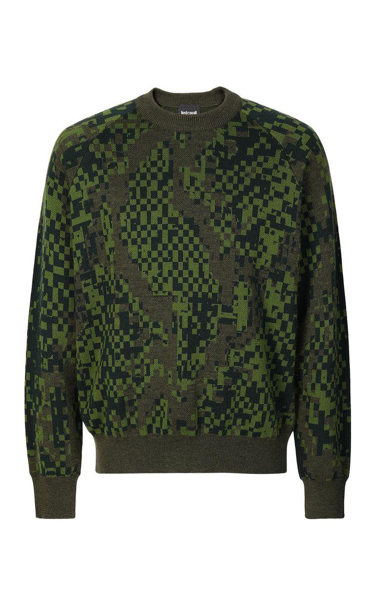 JUST CAVALLI Pixel python pullover Crewneck sweater Man f