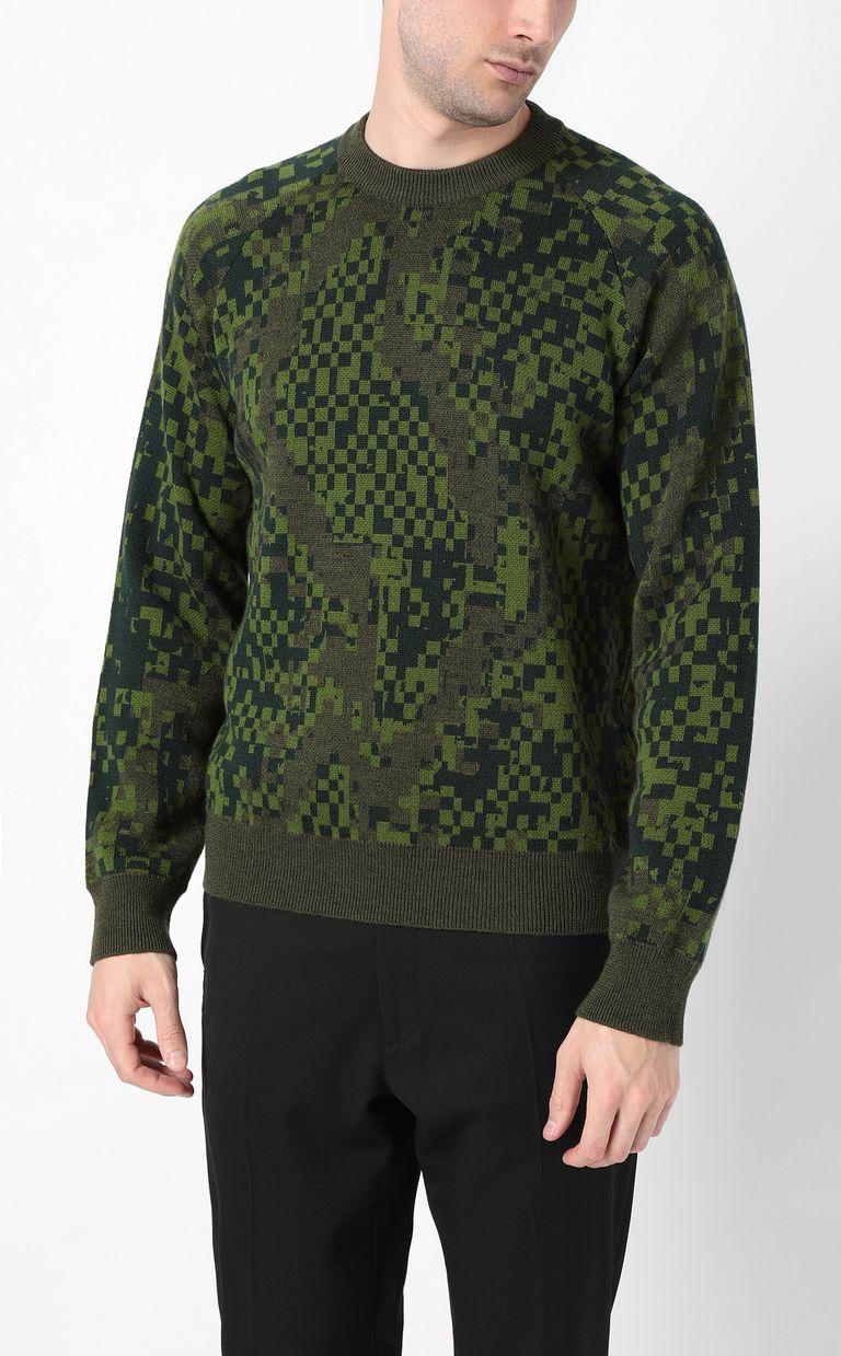 JUST CAVALLI Pixel python pullover Crewneck sweater Man r