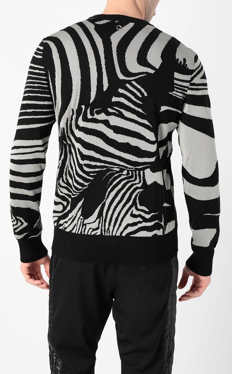 JUST CAVALLI Zebra-jacquard pullover Crewneck sweater Man a