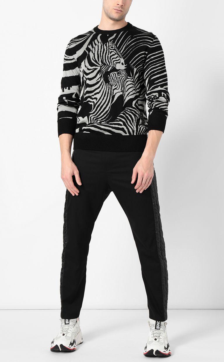 JUST CAVALLI Zebra-jacquard pullover Crewneck sweater Man d