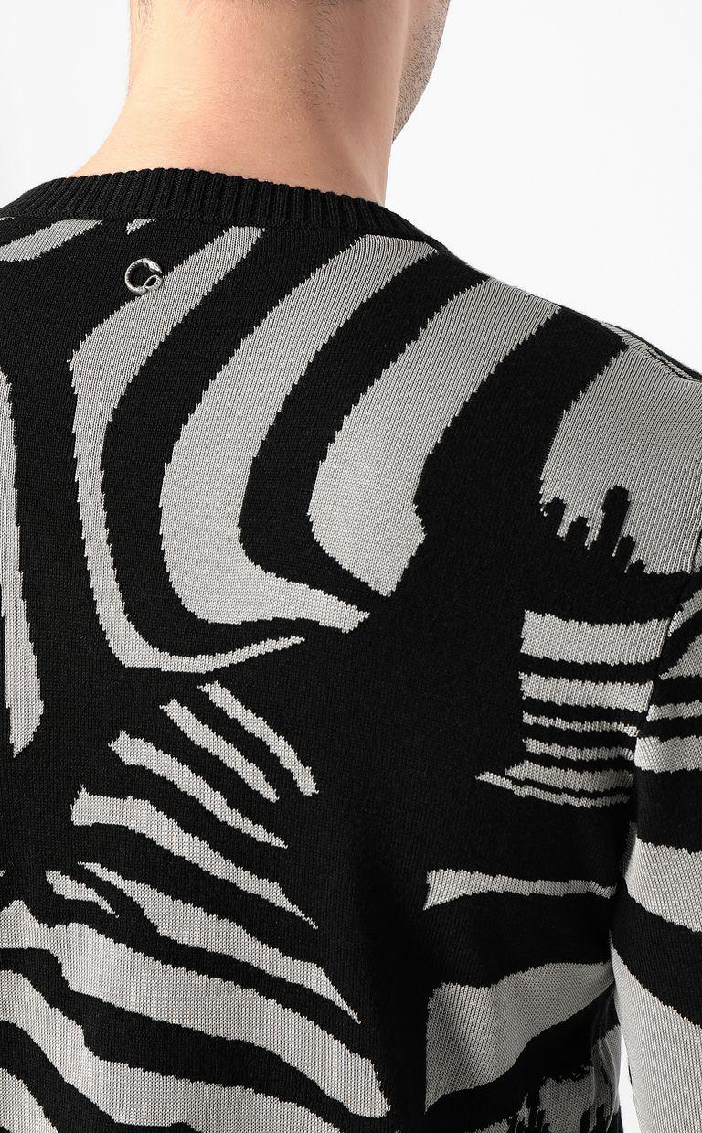 JUST CAVALLI Zebra-jacquard pullover Crewneck sweater Man e
