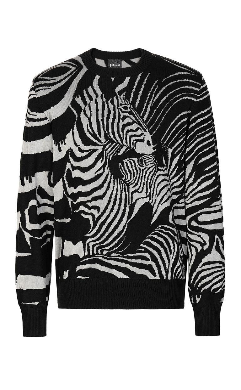 JUST CAVALLI Zebra-jacquard pullover Crewneck sweater Man f