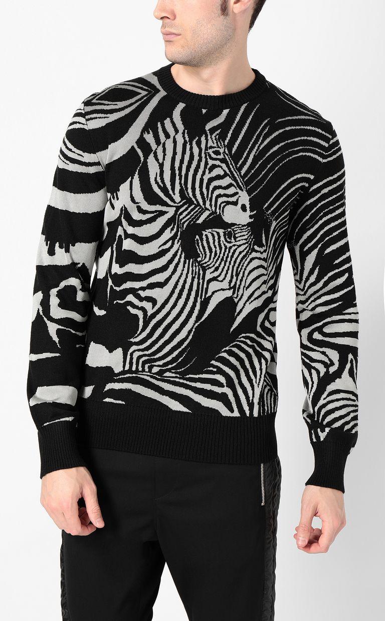 JUST CAVALLI Zebra-jacquard pullover Crewneck sweater Man r