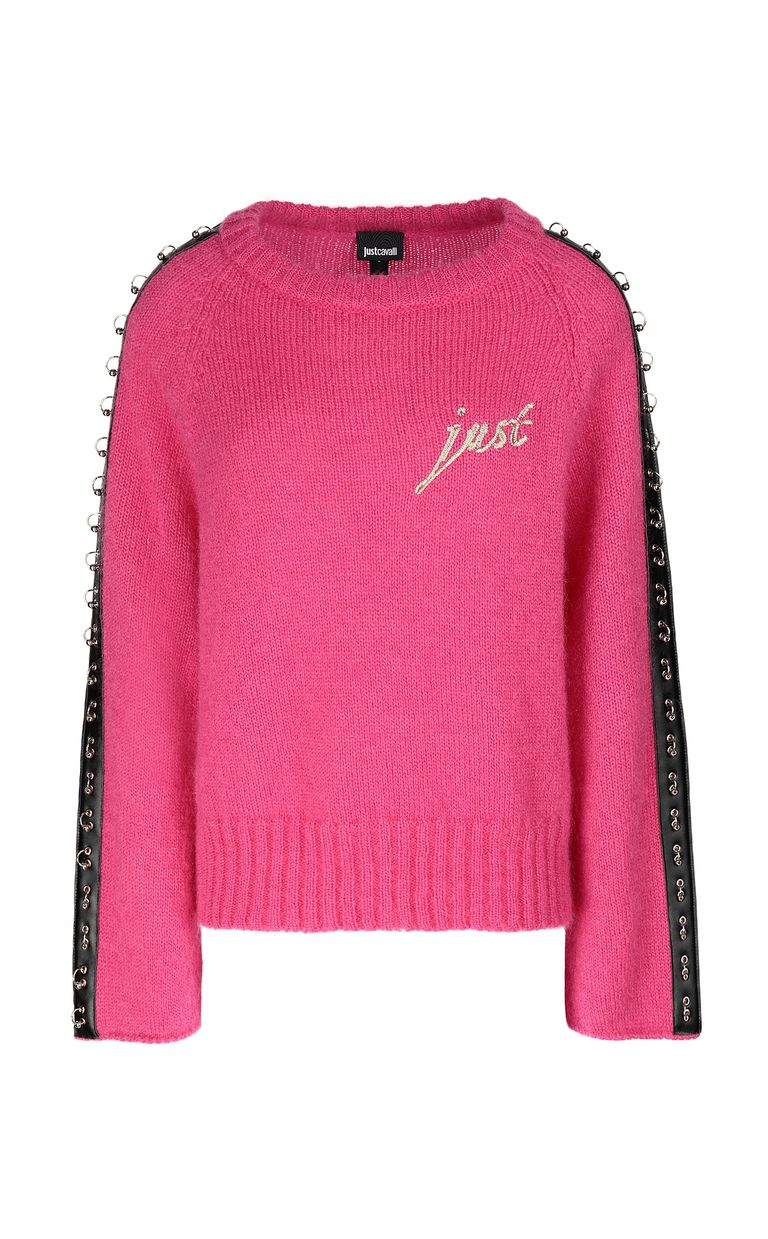 JUST CAVALLI Pullover with pierced detail Crewneck sweater Woman f