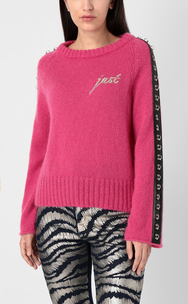 JUST CAVALLI Pullover with pierced detail Crewneck sweater Woman r
